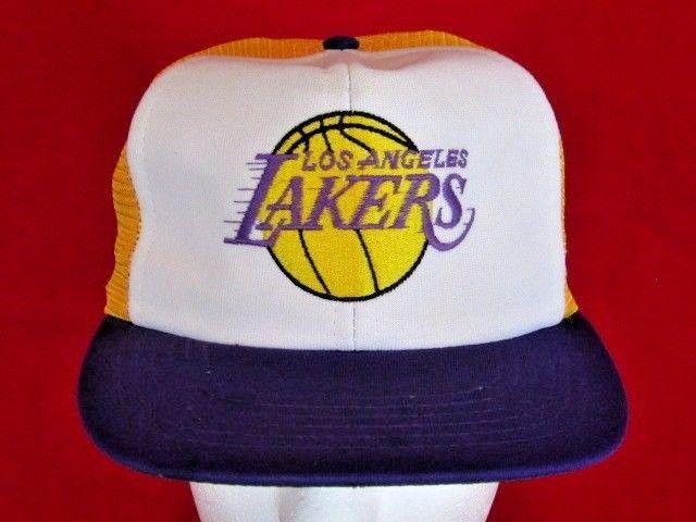 2301f89bfb6eaf Vintage L.A. Lakers Snapback Trucker Cap Hat Los Angeles NBA Basketball  Shaq #UII #Cap