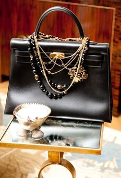 Hermes Kelly Bag & Chanel Necklace