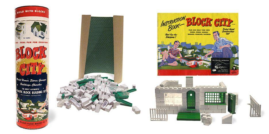 Vintage Plastic Building Blocks | LOCK CITY VINTAGE TOY BUILDING SET