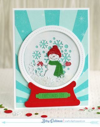 Snowman Snow Globe Card by Betsy Veldman for Papertrey Ink (September 2014)