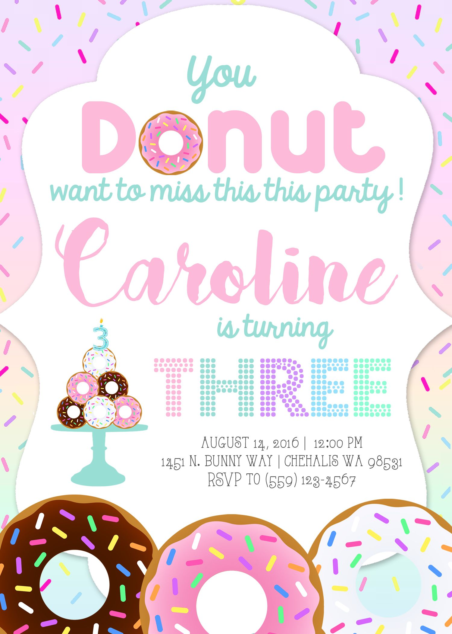 You DONUT Want To Miss This Party Donut Birthday Invitation Invite Donuts Cake Little Girl Toddler Invitations Invites