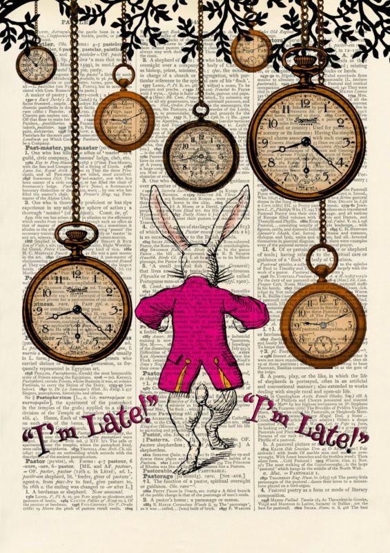 Vintage Art Print Alice in Wonderland Archival Print Nursery Wall Art Quote Sign
