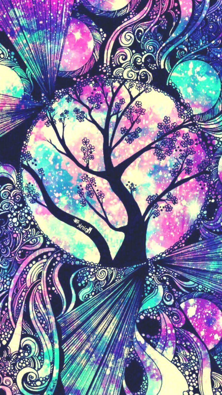 Arbre Floral Galaxy iPhone / Android Wallpaper que j'ai