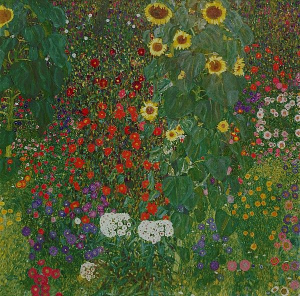 Gustav Klimt is one of my favourite artists. No collection of garden paintings would be complete without some of his. This one is so natural, tangled and rambling. I love the contrast of flower and leaf sizes.