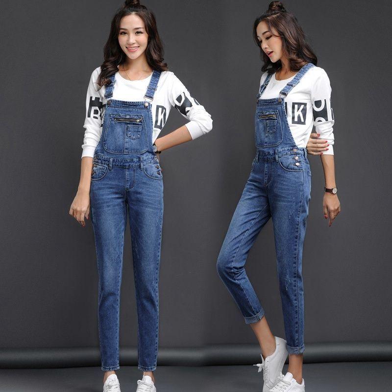 ef696b58cdc1 Women Denim Overalls Girls Blue Jeans Fashion Bib Pants Slim Suspender  Trousers