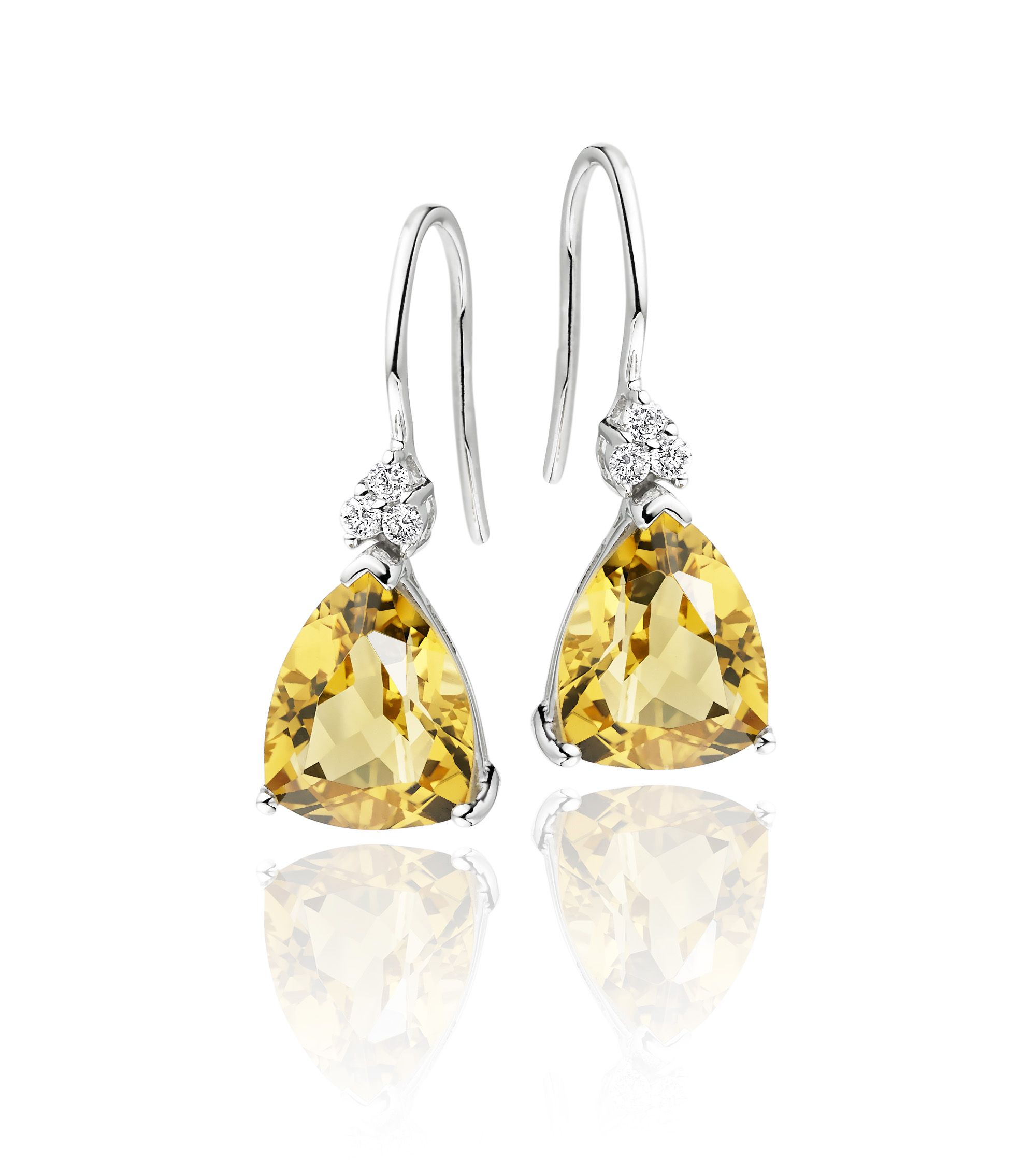 cut drop diamond trillion ladies in gold image white earrings leaf