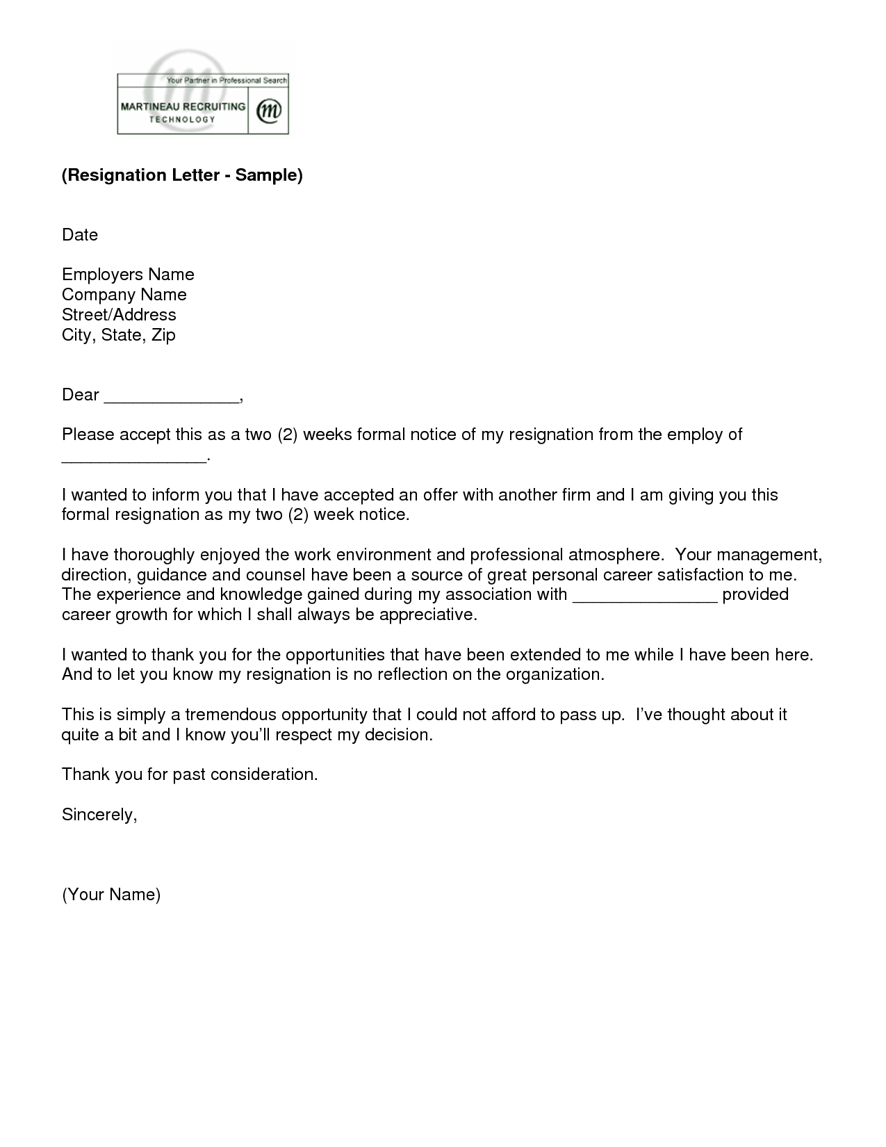 Good Letter Of Resignation 2 Weeks Notice Template