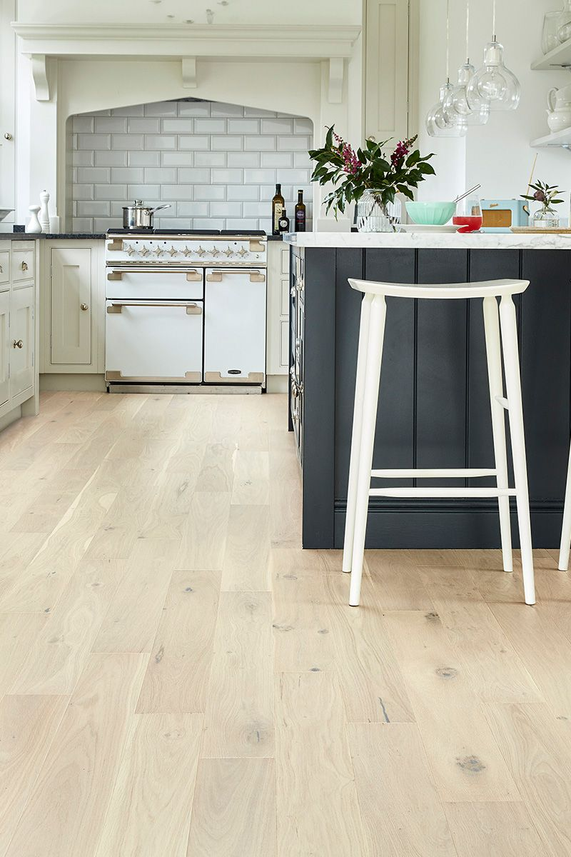On Trend White And Pale Blonde Woods Give Any Room A Lighter Brighter Feel But They Can Be P Wood Floor Kitchen White Modern Kitchen White Oak Hardwood Floors
