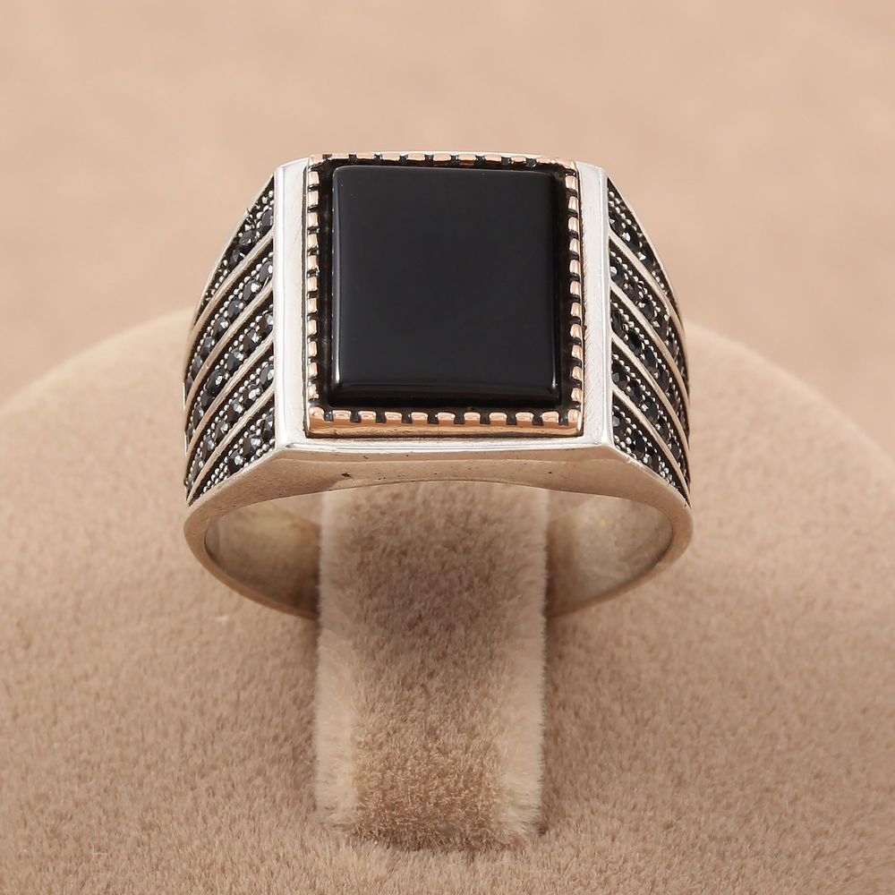 Details about Turkish Handmade Square Black Onyx Stone 925
