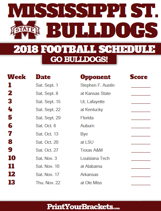 Printable Mississippi State Bulldogs Football Schedule Mississippi State Football Mississippi State Bulldogs Football Maryland Terrapins Football