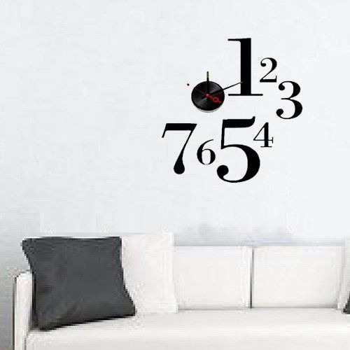 Modern Home Self Adhesive DIY 3D Wall Clock - One-to-Seven -- Discover this special product, click the image : home diy wall