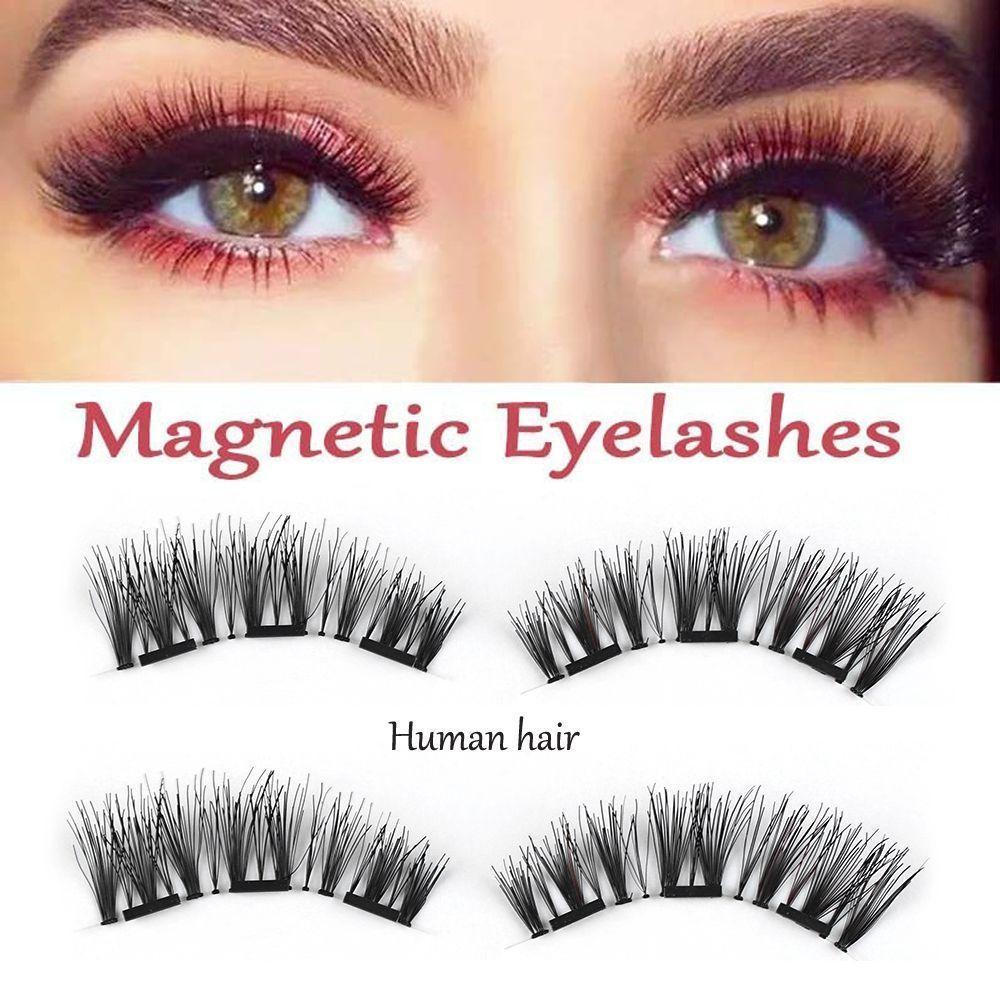 2018 4 Pcs100 Human Hair Triple Magnetic Cilia False Eyelashes