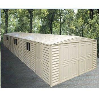 01516 Duramax 10 X 28 Vinyl Garage With Foundation Vinyl Storage Sheds Vinyl Sheds Duramax Sheds