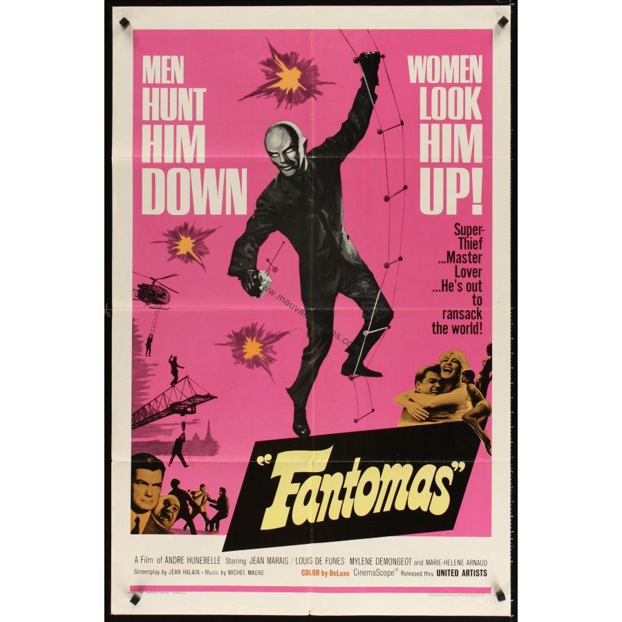 fantomas affiche us 39 66 jean marais louis de funes movie poster couvertures affiches. Black Bedroom Furniture Sets. Home Design Ideas