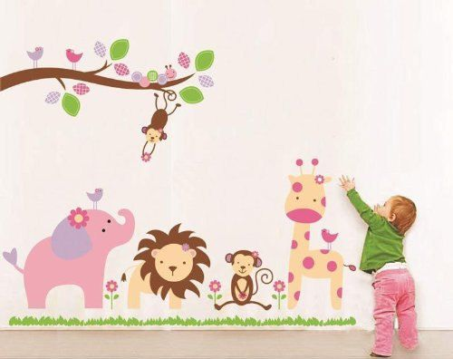 Cartoon Animal Zoo Jungle Lion Vinyl Wall Sticker Decal Kid Baby Bedroom Nursery
