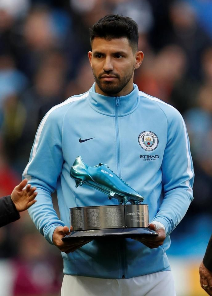 Sergio Aguero facing Arsenal in gold boots after breaking goalscoring record