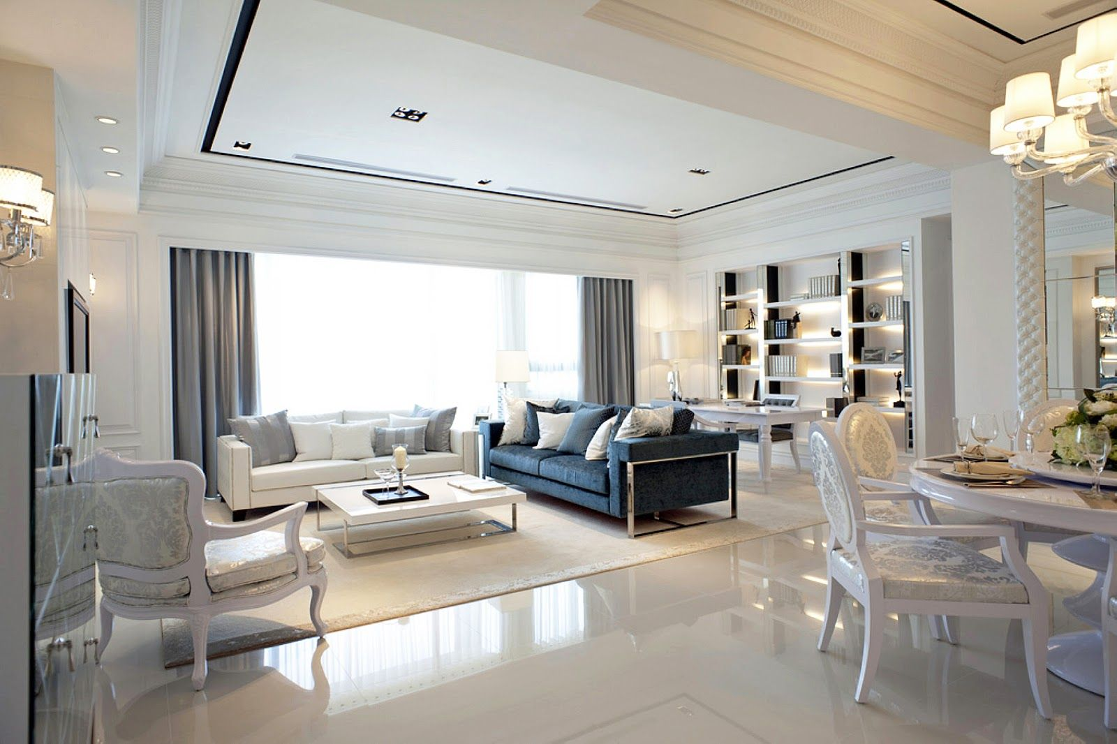 Glam Interior Design taiwan penthouse condo decor: white and grey decor | food and