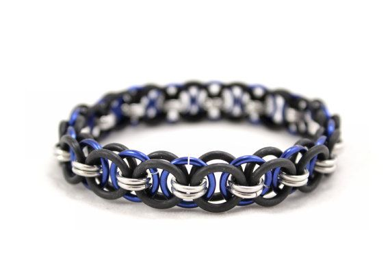 Dark Blue and Black Stretchy Helm Chain Bracelet - Handmade Chainmaille Jewellery