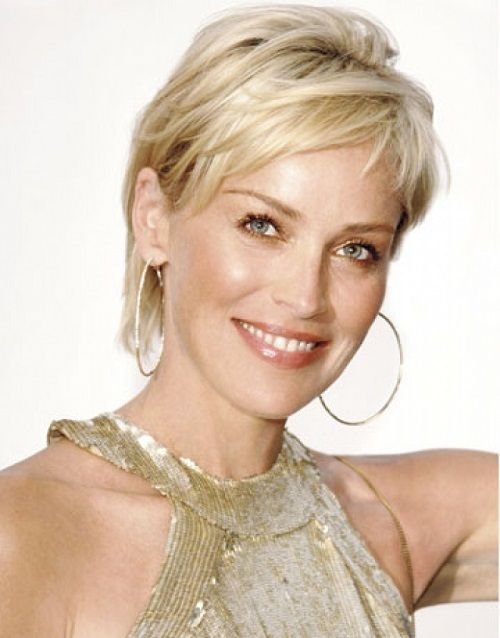 Sharon Stone Once Again With Short Sleek Layered Pixie