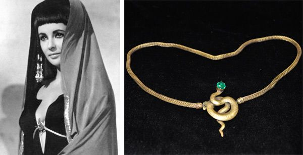 """Joseff of Hollywood was jewelry maker to the biggest Golden Era movie stars - Elizabeth Taylor insisted that this Joseff of Hollwood snake belt, which she wore in 1963′s """"Cleopatra,"""" had been measured wrong. It is now on display with other Joseff treasures."""