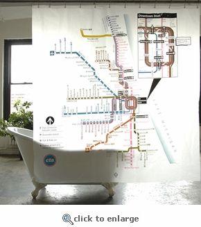 Chicago Cta Shower Curtain Train Map Subway Map Map