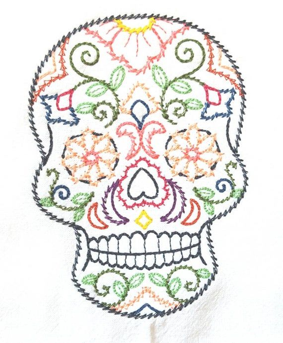 Dulce Amor Sugar Skull Machine Embroidered Flour Sack Dish Towel