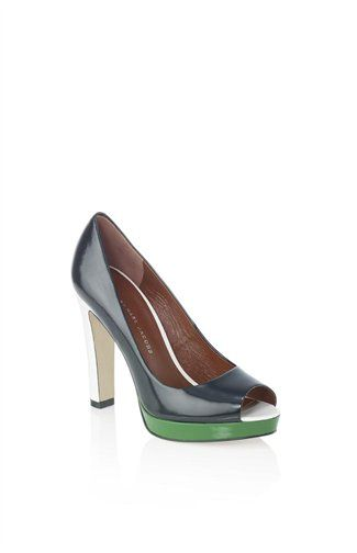 """Marc by Marc Jacobs- Graphic Peep Toe Pump.    True story: My hubs pointed these out in a store recently and said he liked them.  I was impressed that he was drawn to color-blocking.  """"I don't know what that is,"""" he told me.  """"Actually, they remind me of a pool table.""""  Ah.  Okay."""
