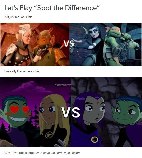 I get it cos Mikey and beast boy are the same voice actors