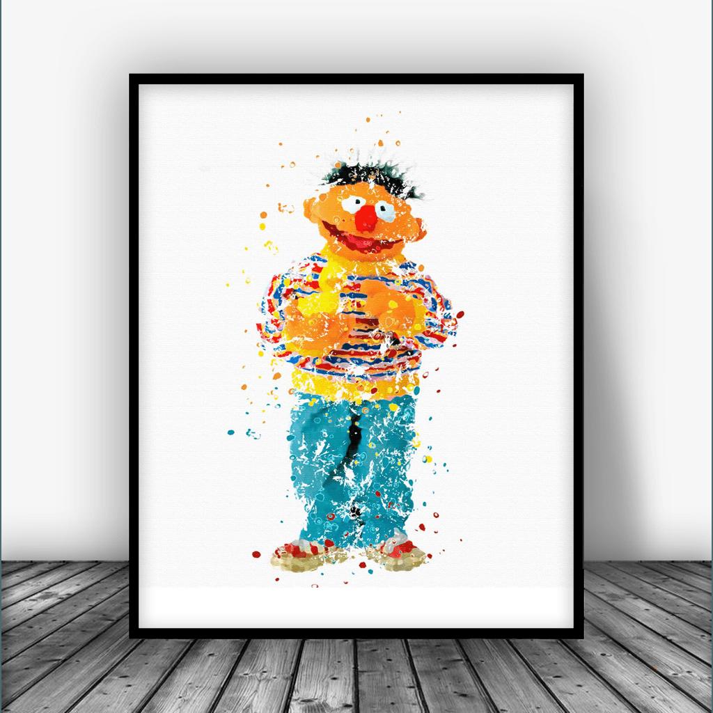 Oscar the Grouch Sesame Street Wall Art Watercolor Poster Nursery Room UNFRAMED
