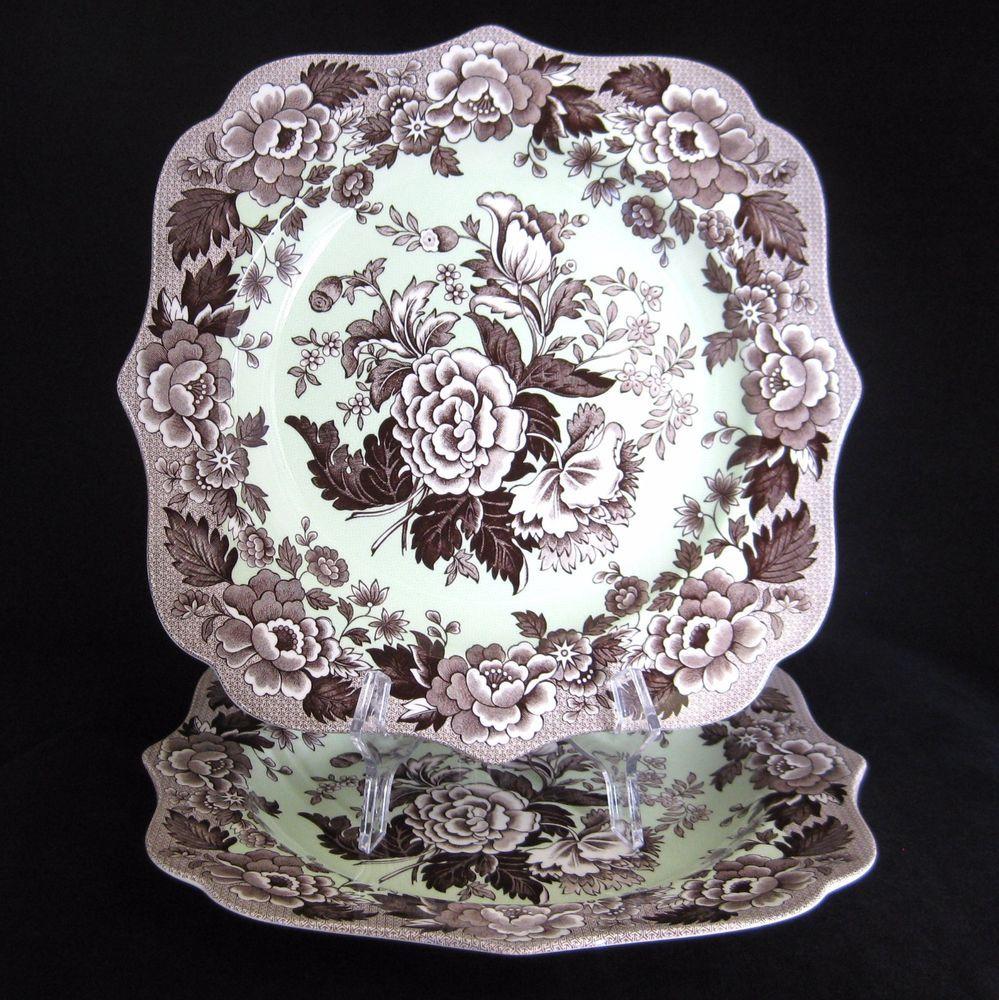 Spode Poppy Square Plates (2) Green British Flowers Botanical Made in England #Spode & Spode Poppy Square Plates (2) Green British Flowers Botanical Made ...