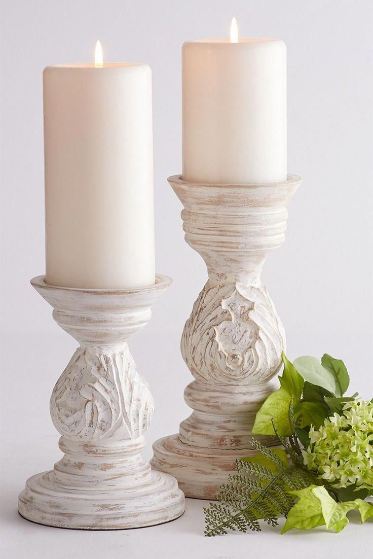 Photo of White Carved Mango Wood Pillar Candle Holders