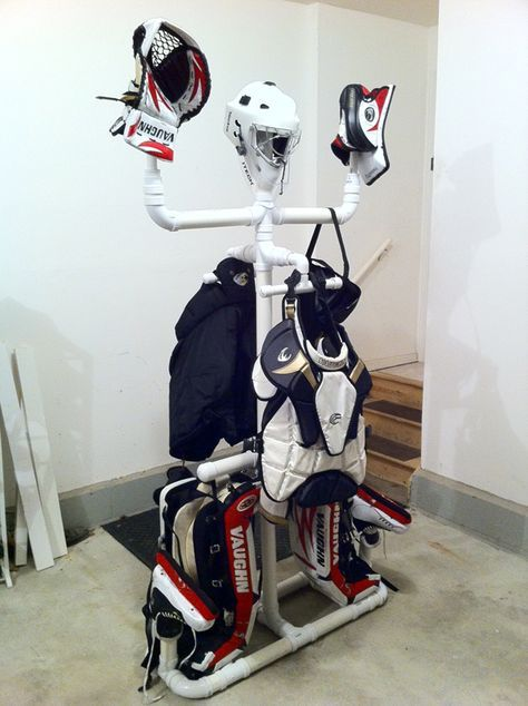 Homemade Equipment Drying Rack Goalie Store Bulletin Board Hockey Equipment Hockey Goalie Gear Hockey Goalie Equipment