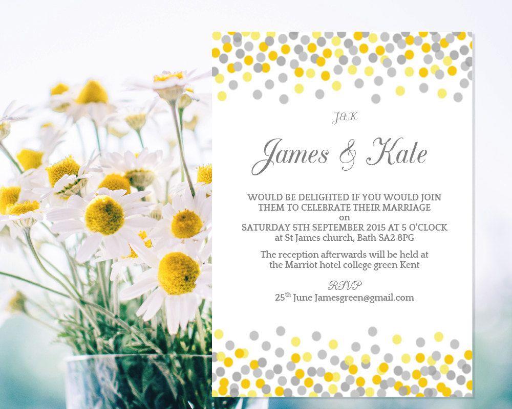 wedding invitation template confetti yellow and grey. Black Bedroom Furniture Sets. Home Design Ideas