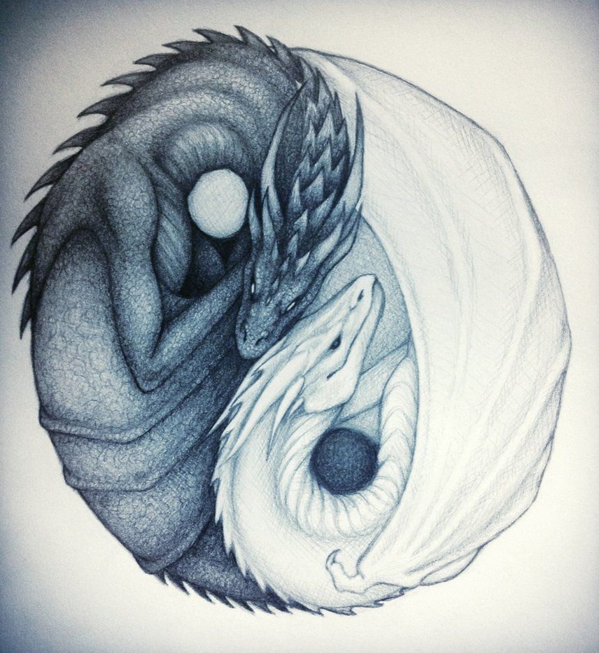 Feather Ying Yang Symbol Tattoo Drawing ❥❥❥ http://bestpickr ...