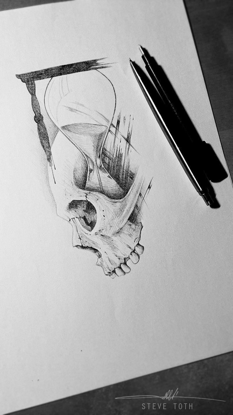 Skull And Sand Clock Tattoo Design Tatuaje Reloj De Arena
