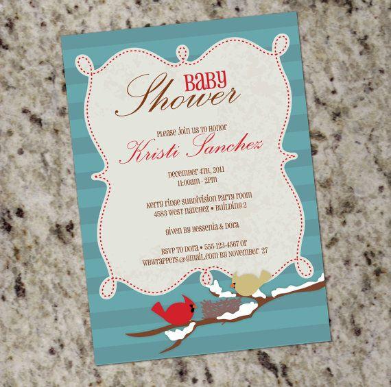 Cardinals baby shower invite