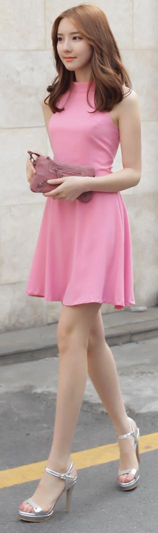Luxe Asian Korean Women Fashion Halter ribbon Pink Dress