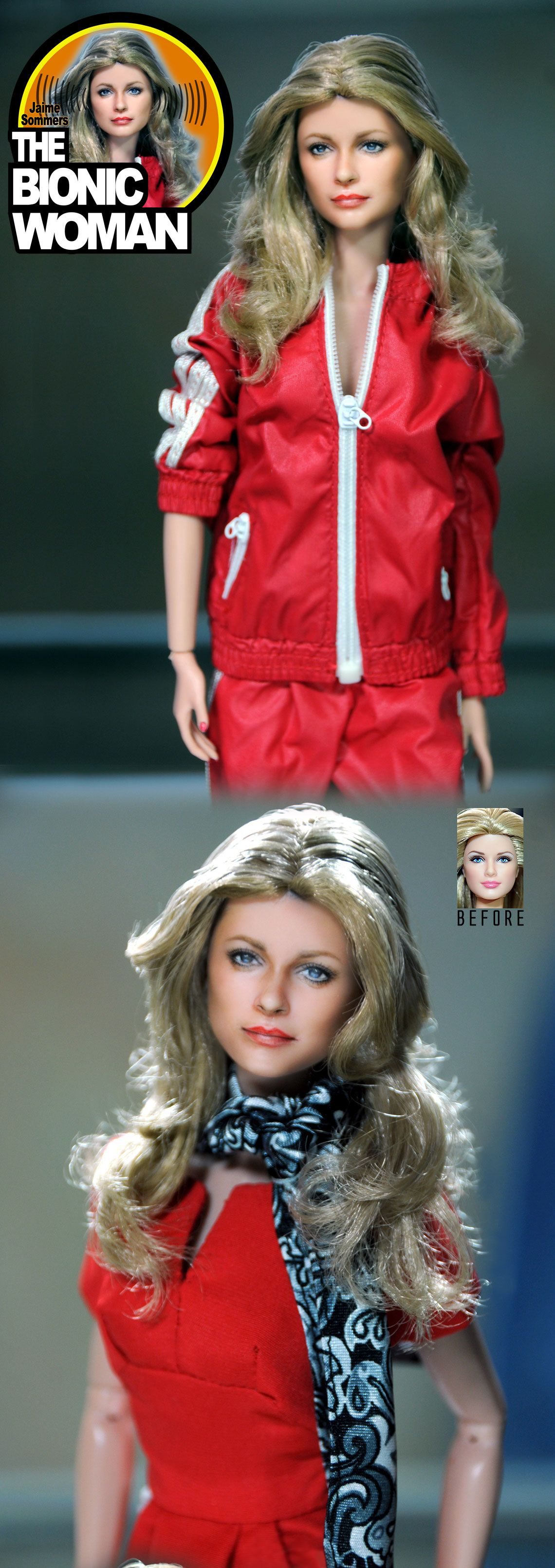 Lindsay Wagner as Jaime Sommers THE BIONIC WOMAN as repainted, restyled and photographed by artist Noel Cruz of ncruz.com for myfarrah.com.