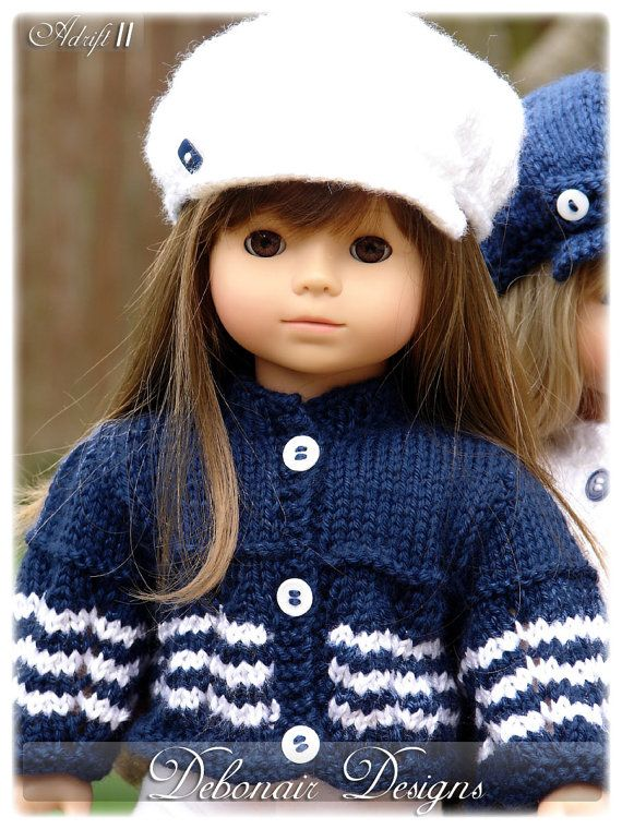 Adrift, PDF Doll Clothes a nautical inspired cardigan knitting ...