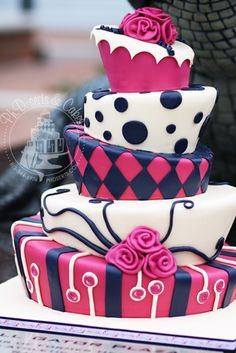 wedding cake non traditional pink and navy blue google search