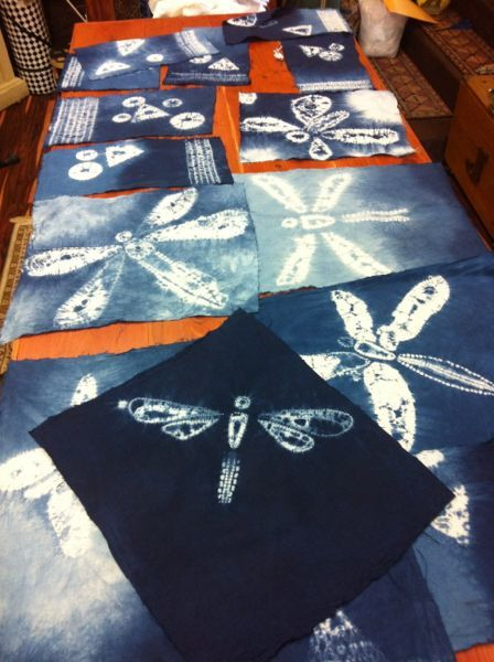 some results--dragonfly motif; Shibori Girl