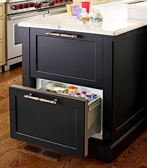 Housing A Set Of Refrigerator Drawers In An Island Extends The Amount Of Cold Storage Without Carving Out Kitchen Island Storage Island Storage Updated Kitchen