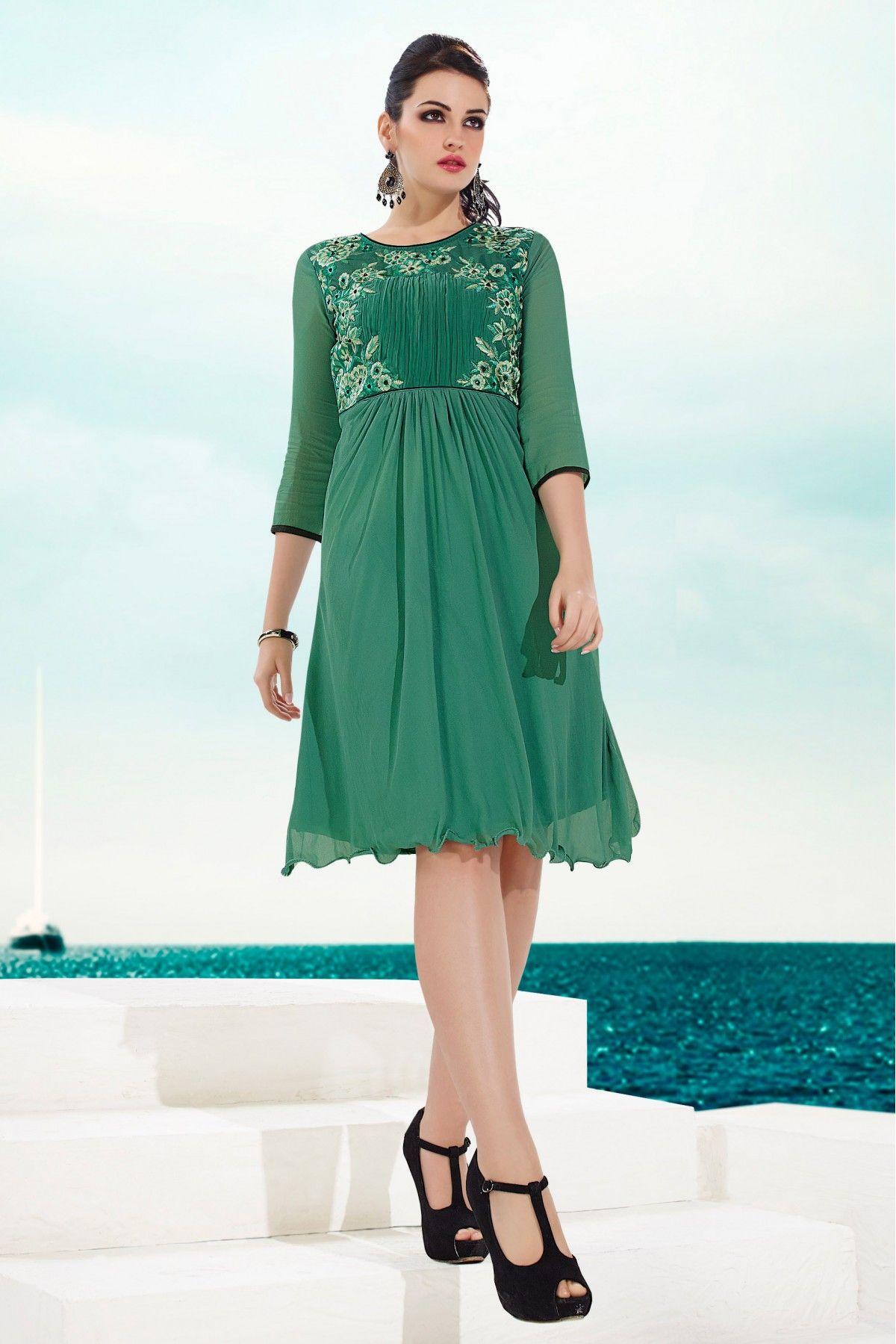 Georgette Party Wear Kurti in Sea Green Colour | Sea green color ...