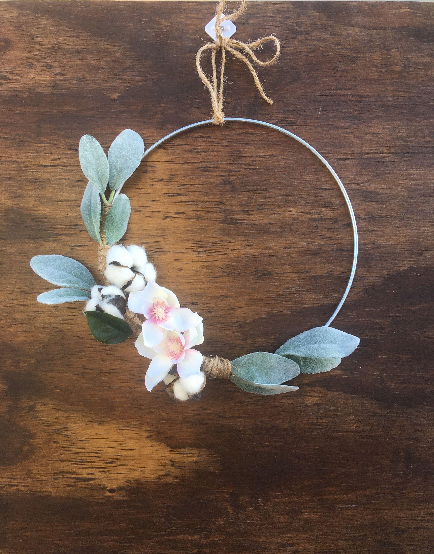 Photo of Floral Hoop Wreath, Spring Door Wreath, Magnolia Wreath, Lambs Ear Wreath, Spring Door Decor, Metal Hoop Wreath, Modern Hoop Wreath