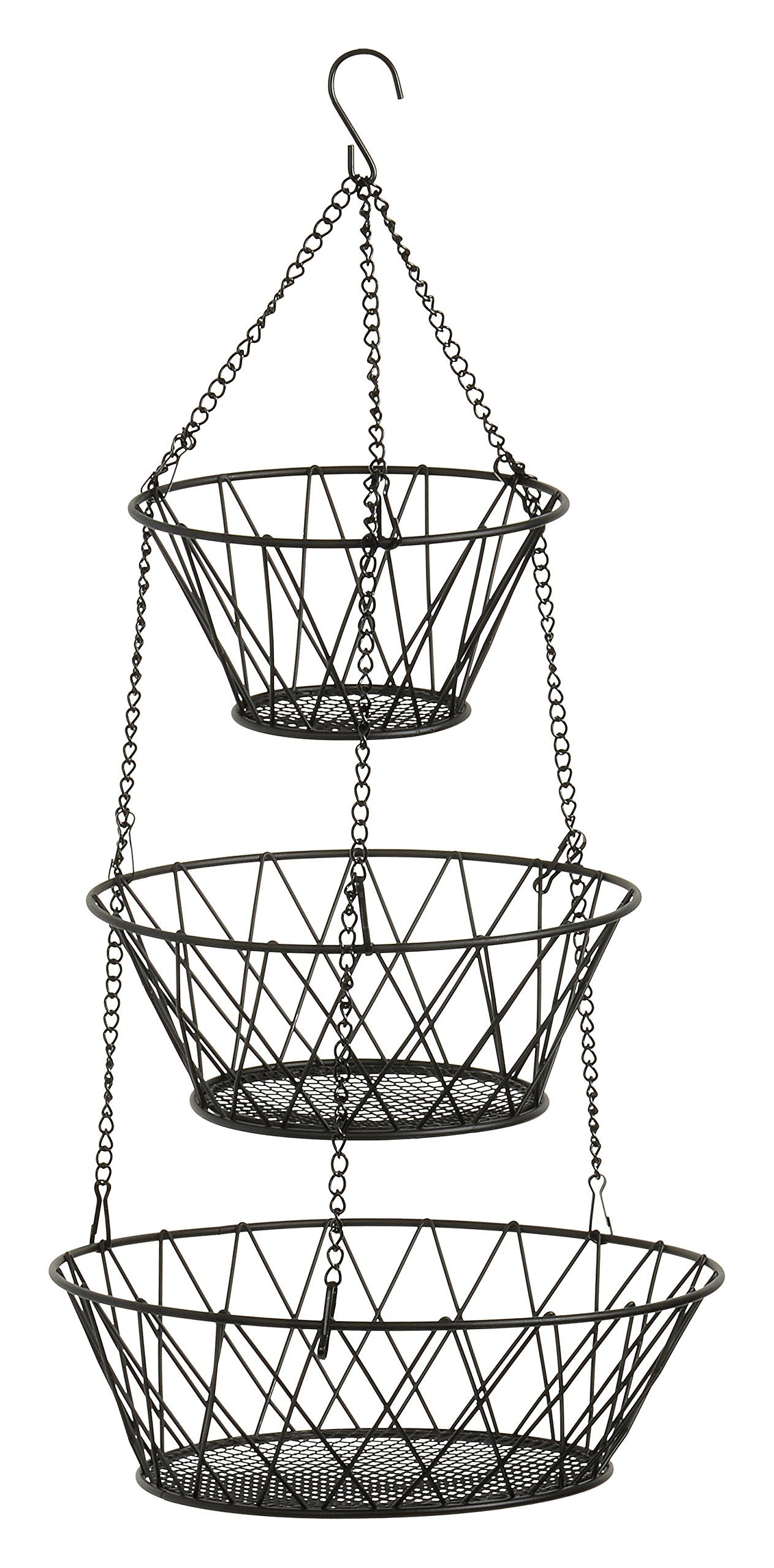 black 3 tier hanging fruit basket kitchen wishlist pinterest