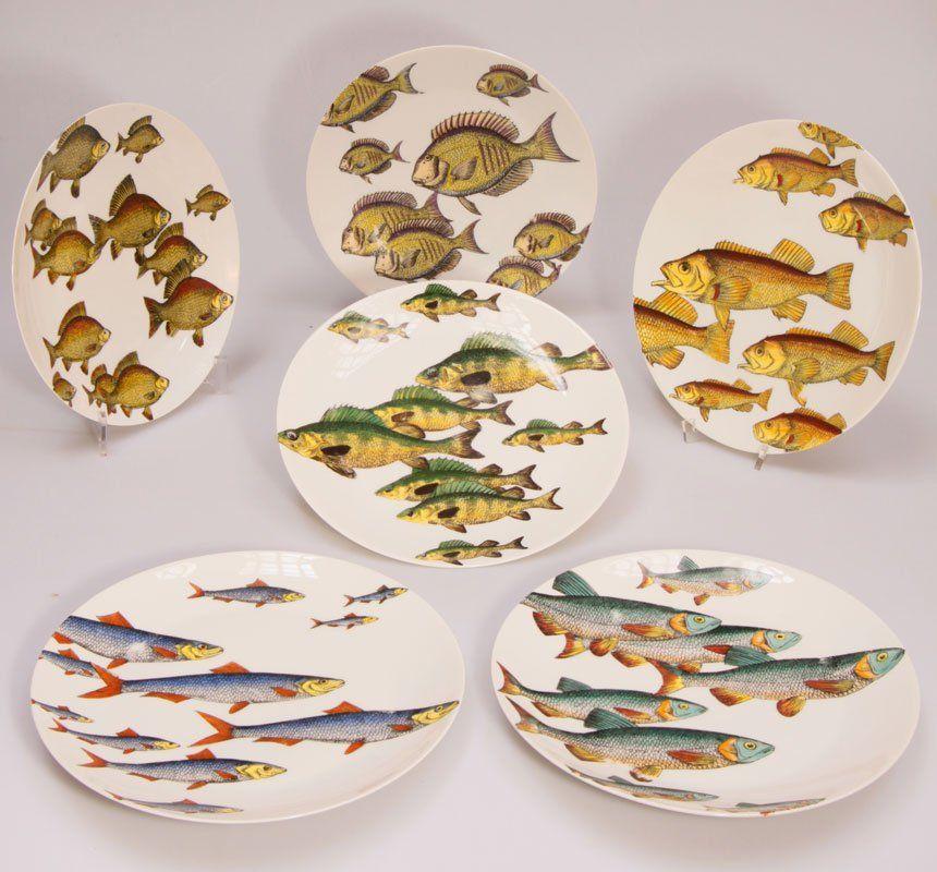 Designer Teller Set porzellan polychromes dekor mit fischen teller arzberg d 24 5 cm