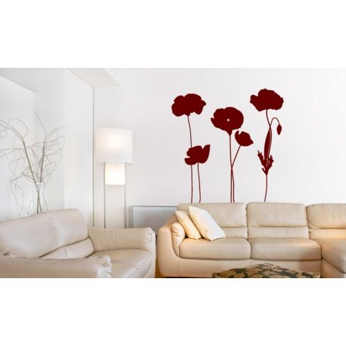 Decoretto Wandtattoo Mohnblumen Design Wall Decor Decals Wall Decals Flower Wall Decals