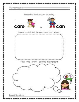 Differentiated Thinking About Choices Worksheets And Apology