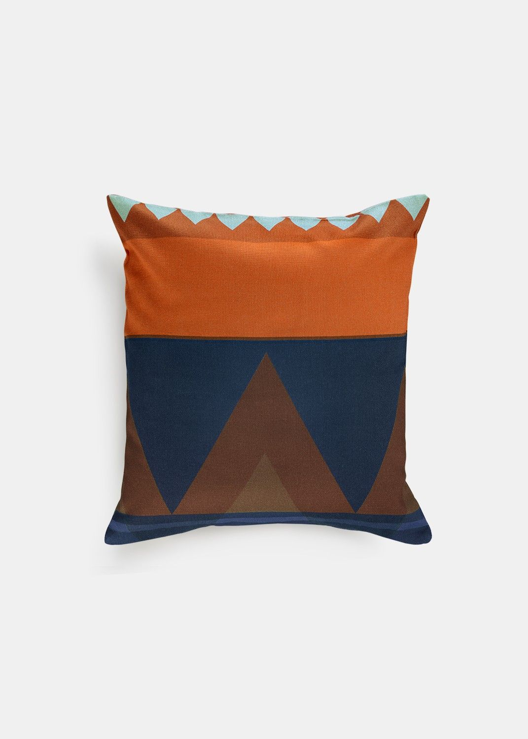 "Our designer's modern take on the tribal pattern, the Savanna Pillow Cover features bold shapes and a bright palette--a great statement piece for any room.       	Machine washable   	Discreet zipper closure   	Suitable for outdoor use  	Material: 100% Turkish Cotton  	Dimension: Small: 16""x16"" Large: 18""x18"""