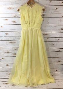 b2ea8a37cb5f1 Vtg 70s Pale Yellow Chiffon Maxi Long Prom Formal Bridesmaid Gown Dress XS  0/2 | eBay